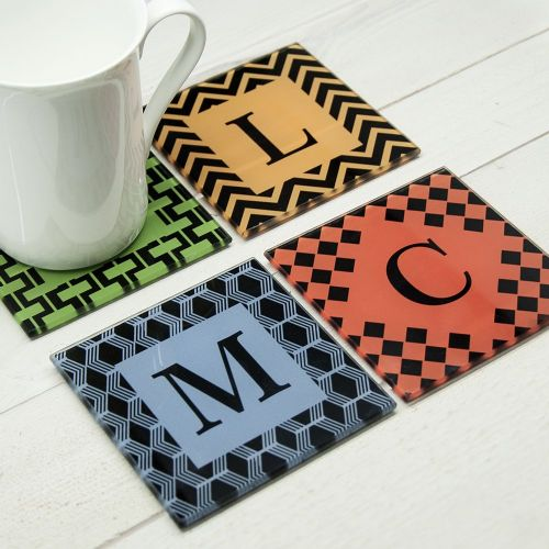 Personalised Set of Four Glass Coasters - Art Deco Design